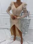 Sukienka cekinowa na długi rękaw maxi złota Paulina 09 - photo #3