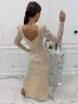 Sukienka cekinowa na długi rękaw maxi złota Paulina 09 - photo #4