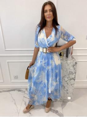 Sukienka maxi z wzorem błękitna z białym Kaser 54