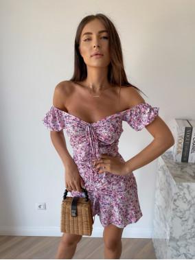 Sukienka mini na krótki rękaw w kwiaty liliowa Valeria 90
