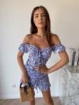 Sukienka mini na krótki rękaw w kwiaty niebieska Valeria 90 - photo #0