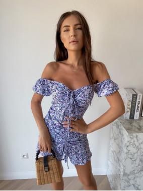 Sukienka mini na krótki rękaw w kwiaty niebieska Valeria 90
