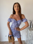Sukienka mini na krótki rękaw w kwiaty niebieska Valeria 90 - photo #3