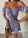 Sukienka mini na krótki rękaw w kwiaty niebieska Valeria 90 - photo #4