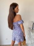 Sukienka mini na krótki rękaw w kwiaty niebieska Valeria 90 - photo #5