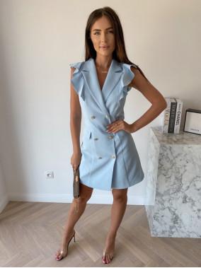 Sukienka a'la marynarka z falbaną błękitna Aloisa 54