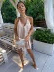 Sukienka mini beżowa z falbanami Sibi 88 - photo #2