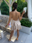 Sukienka mini beżowa z falbanami Sibi 88 - photo #5