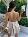 Sukienka mini beżowa z falbanami Sibi 88 - photo #6