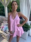 Sukienka mini różowa z falbanami Sibi 88 - photo #0