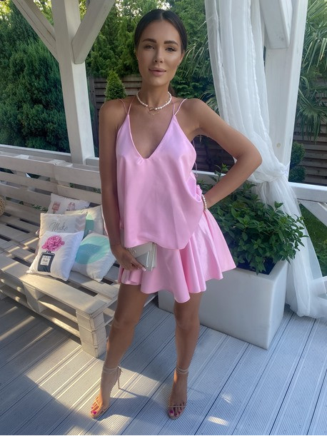 Sukienka mini różowa z falbanami Sibi 88