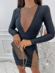Sukienka mini z ozdobnymi cyrkoniami czarna Nesa 09 - photo #1