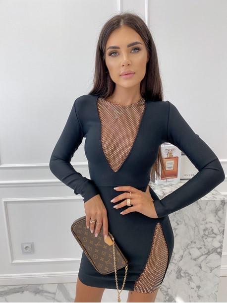 Sukienka mini z ozdobnymi cyrkoniami czarna Nesa 09