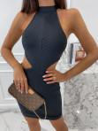 Sukienka mini bandażowa z wycięciem czarna Sinea 09 - photo #2