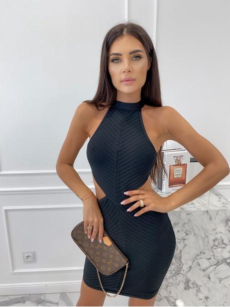 Sukienka mini bandażowa z wycięciem czarna Sinea 09