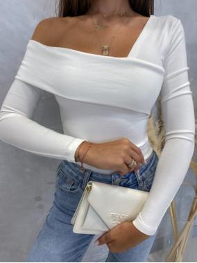 Bluzka na długi rękaw z asymetrycznym dekoltem biała Akela 30