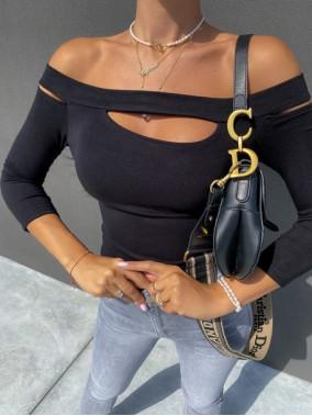 Bluzka 3/4 rękaw z wyciętymi ramionami czarna  Emona 30