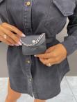 Koszula jeansowa zapinana na guziki z saszetką czarna Masza 17 - photo #3