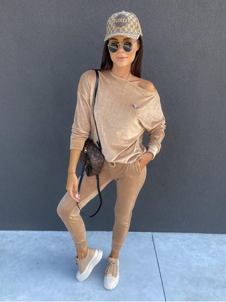 Dres welurowy bluza+spodnie beżowy Sairin 29