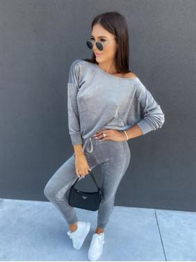 Dres welurowy bluza+spodnie szary Sairin 29
