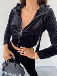 Komplet dresowy welurowy spodnie+bluza czarny Zeres 29 - photo #2