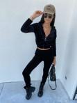 Komplet dresowy welurowy spodnie+bluza czarny Zeres 29 - photo #3