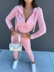 Komplet dresowy welurowy spodnie+bluza pudrowy róż Zeres 29 - photo #1