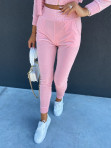 Komplet dresowy welurowy spodnie+bluza pudrowy róż Zeres 29 - photo #3