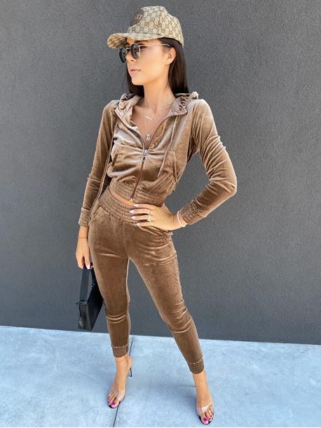 Komplet dresowy welurowy spodnie+bluza beżowy ciemny Zeres 29
