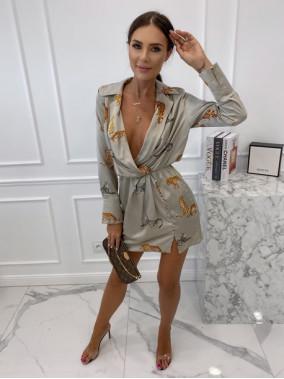 Sukienka koszulowa we wzór z gepardem w kolorze szarym Sicilio 09