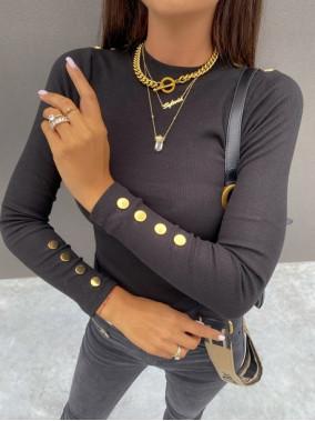 Bluzka w prążek na długi rękaw z ozdobnymi guzikami czarna Arella 30