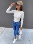 Bluzka w prążek na długi rękaw z ozdobnymi guzikami biała Arella 30 - photo #1