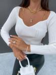 Bluzka z łańcuszkami w prążek biała Xawiera 139 - photo #3
