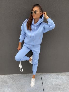 Komplet dresowy bluza z zamkami +spodnie niebieski Adik 54