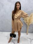 Sukienka satynowa mini na długi rękaw z łańcuszkiem karmel Nizi 09 - photo #1