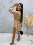 Sukienka satynowa mini na długi rękaw z łańcuszkiem karmel Nizi 09 - photo #4