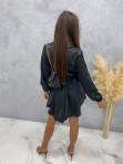 Sukienka satynowa mini na długi rękaw z łańcuszkiem czarna Nizi 09 - photo #4