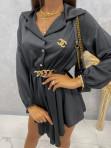 Sukienka satynowa mini na długi rękaw z łańcuszkiem czarna Nizi 09 - photo #1