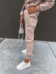 Komplet dresowy bluza z zamkami +spodnie pudrowy róż Adik 54 - photo #3