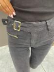 Spodnie jeansowe z paskiem i małym zamkniem z przodu czarne Olaf 14 - photo #2