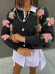 Sweter z rózami 3D na guziki czarny Azandia 09 - photo #1