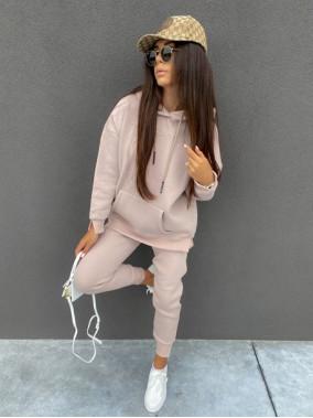 """Komplet dresowy spodnie+bluza z kapturem i napisem """"New Color"""" pudrowy róż Ramzes 54"""