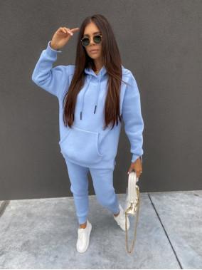 """Komplet dresowy spodnie+bluza z kapturem i napisem """"New Color"""" niebieski Ramzes 54"""