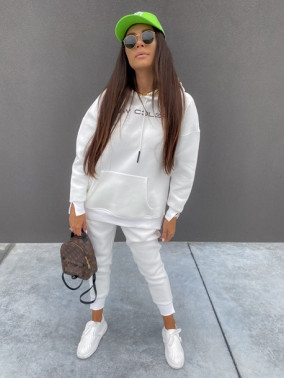 """Komplet dresowy spodnie+bluza z kapturem i napisem """"New Color"""" biały Ramzes 54"""