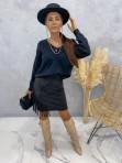 Spódniczka z frędzlami czarna Audrey 121 - photo #0
