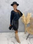 Spódniczka z frędzlami czarna Audrey 121 - photo #1
