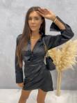 Sukienka satynowa mini czarna Nita 09 - photo #2