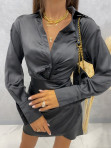 Sukienka satynowa mini czarna Nita 09 - photo #3