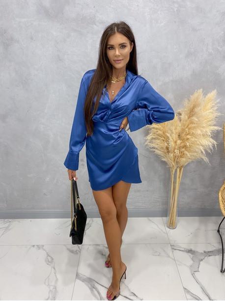 Sukienka satynowa mini granatowa Nita 09