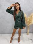 Sukienka satynowa mini ciemno zielona Nita 09 - photo #0